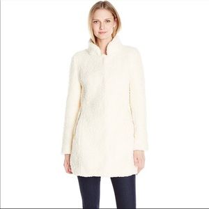 Ivanka Trump Teddy Faux Fur Winter Coat Cream